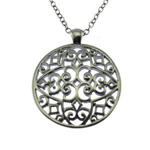 Long Silver Chain Circle Pendant Necklace
